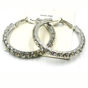 Big Bling! Rhinestone hoop earrings